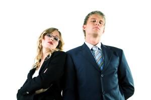 Two arrogant business people (man / woman)